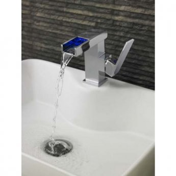 Hudson Reed Art LED Cloakroom Mono Basin Mixer Tap Single Handle with Push Button Waste - Chrome