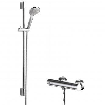 Hudson Reed Binsey Thermostatic Bar Shower Valve with Slimline Slider Rail Kit - Chrome