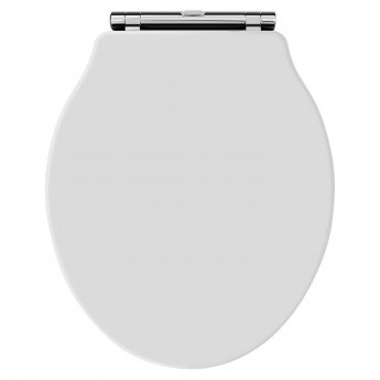 Hudson Reed Chancery Soft Close Toilet Seat Chrome Hinges - White