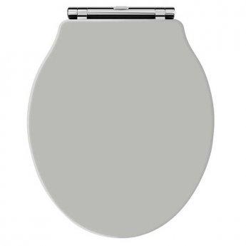 Hudson Reed Chancery Soft Close Toilet Seat Stone Grey Chrome Hinges