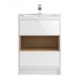 Hudson Reed Coast 1 Floor Standing Vanity Unit and Basin 1 White - 600mm Wide