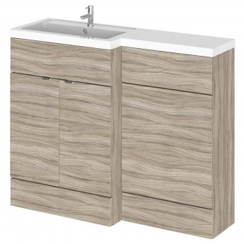 Hudson Reed Fusion LH Combination Unit with L Shape Basin - 1100mm Wide - Driftwood