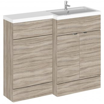 Hudson Reed Fusion RH Combination Unit with L Shape Basin - 1100mm Wide - Driftwood
