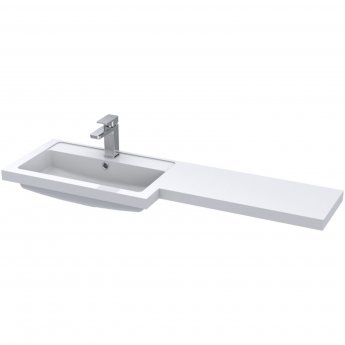 Hudson Reed Fusion LH Combination Unit with 600mm WC Unit - 1200mm Wide - Gloss Grey