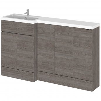 Hudson Reed Fusion LH Combination Unit with 300mm Base Unit x 3 - 1500mm Wide - Brown Grey Avola