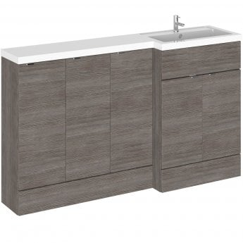 Hudson Reed Fusion RH Combination Unit with 300mm Base Unit x 3 - 1500mm Wide - Brown Grey Avola