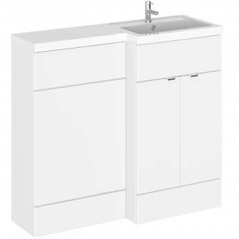 Hudson Reed Fusion RH Combination Unit with 600mm WC Unit - 1200mm Wide - Gloss White