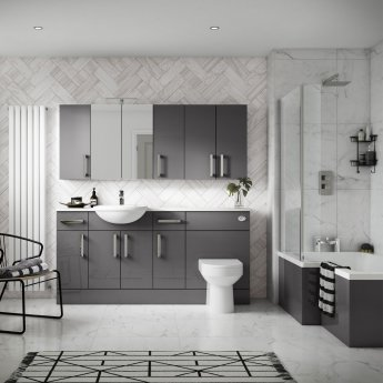 Hudson Reed Fitted Vanity Unit 500mm Wide - Gloss Grey
