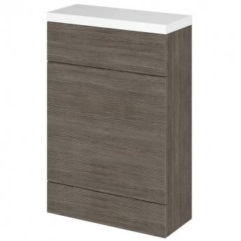Hudson Reed Compact Fitted WC Unit with Worktop 600mm Wide - Brown Grey Avola