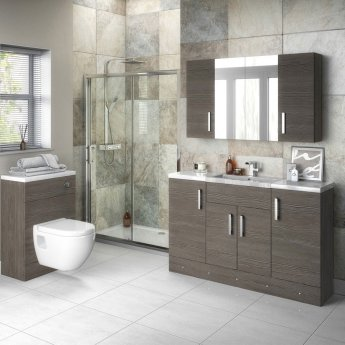 Hudson Reed Compact Fitted Vanity Unit 600mm Wide - Brown Grey Avola