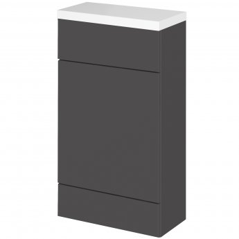 Hudson Reed Fitted WC Unit with Worktop 500mm Wide - Gloss Grey