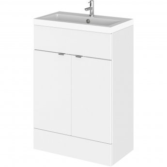 Hudson Reed Fitted Floor Standing Vanity Unit with Basin 600mm Wide - Gloss White