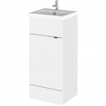 Hudson Reed Fitted Floor Standing Vanity Unit with Basin 400mm Wide - Gloss White