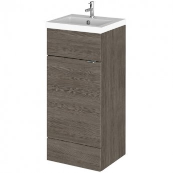 Hudson Reed Fitted Floor Standing Vanity Unit with Basin 400mm Wide - Brown Grey Avola
