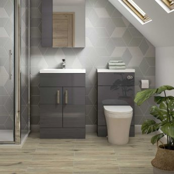 Hudson Reed Fitted Floor Standing Vanity Unit with Basin 600mm Wide - Gloss Grey