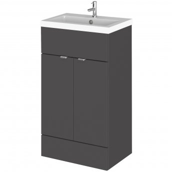 Hudson Reed Fitted Floor Standing Vanity Unit with Basin 500mm Wide - Gloss Grey