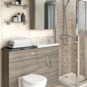 Hudson Reed Fusion Mirror Unit (75/25) 600mm Wide - Driftwood
