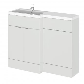 Hudson Reed Fusion LH Combination Unit with L Shape Basin - 1100mm Wide - Gloss Grey Mist