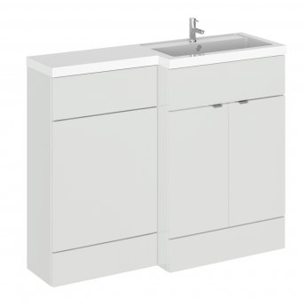 Hudson Reed Fusion RH Combination Unit with L Shape Basin - 1100mm Wide - Gloss Grey Mist
