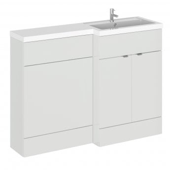 Hudson Reed Fusion RH Combination Unit with 600mm WC Unit - 1200mm Wide - Gloss Grey Mist