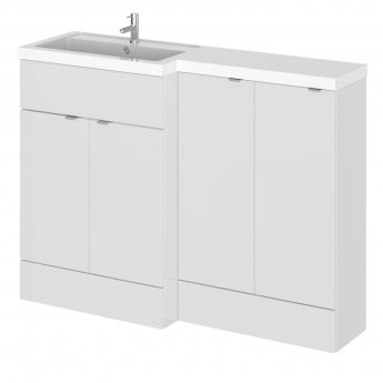Hudson Reed Fusion LH Combination Unit with 300mm Base Unit - 1200mm Wide - Gloss Grey Mist