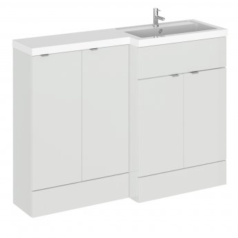 Hudson Reed Fusion RH Combination Unit with 300mm Base Unit - 1200mm Wide - Gloss Grey Mist
