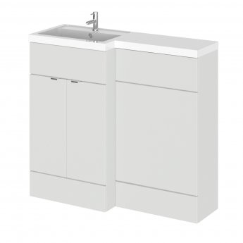 Hudson Reed Fusion LH Combination Unit with 500mm WC Unit - 1000mm Wide - Gloss Grey Mist