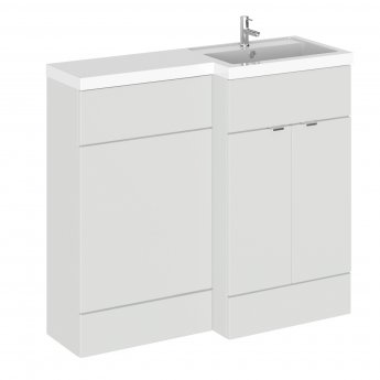 Hudson Reed Fusion RH Combination Unit with 500mm WC Unit - 1000mm Wide - Gloss Grey Mist