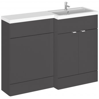 Hudson Reed Fusion RH Combination Unit with 600mm WC Unit - 1200mm Wide - Gloss Grey