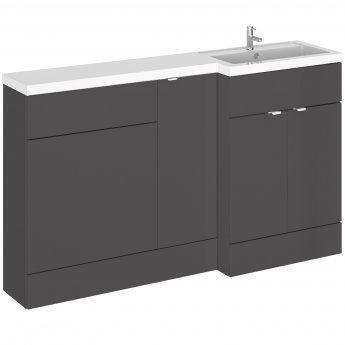 Hudson Reed Fusion RH Combination Unit with 600mm WC Unit - 1500mm Wide - Gloss Grey