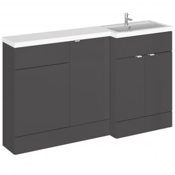 Hudson Reed Fusion RH Combination Unit with 500mm WC Unit - 1500mm Wide - Gloss Grey