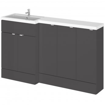 Hudson Reed Fusion LH Combination Unit with 300mm Base Unit x 3 - 1500mm Wide - Gloss Grey