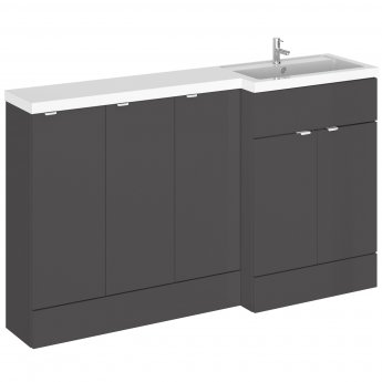 Hudson Reed Fusion RH Combination Unit with 300mm Base Unit x 3 - 1500mm Wide - Gloss Grey