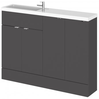 Hudson Reed Fusion Compact Combination Unit with 300mm Base Unit x 2 - 1200mm Wide - Gloss Grey