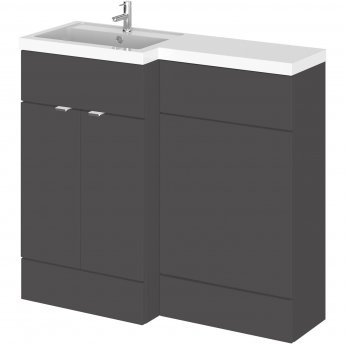 Hudson Reed Fusion LH Combination Unit with 500mm WC Unit - 1000mm Wide - Gloss Grey