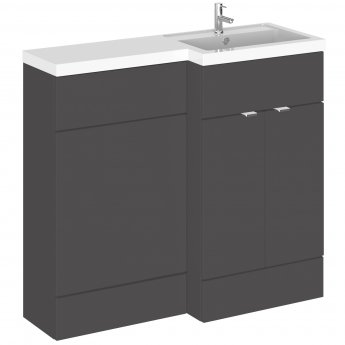 Hudson Reed Fusion RH Combination Unit with 500mm WC Unit - 1000mm Wide - Gloss Grey