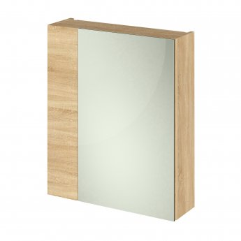 Hudson Reed Fusion Furniture Mirrored Cabinet (75/25) 600mm Wide - Natural Oak