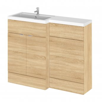 Hudson Reed Fusion LH Combination Unit with L Shape Basin - 1100mm Wide - Natural Oak