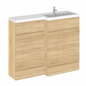 Hudson Reed Fusion RH Combination Unit with L Shape Basin - 1100mm Wide - Natural Oak