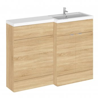 Hudson Reed Fusion RH Combination Unit with 600mm WC Unit - 1200mm Wide - Natural Oak