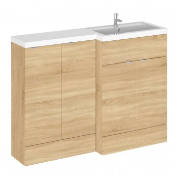 Hudson Reed Fusion RH Combination Unit with 300mm Base Unit - 1200mm Wide - Natural Oak