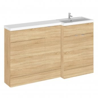 Hudson Reed Fusion RH Combination Unit with 600mm WC Unit - 1500mm Wide - Natural Oak
