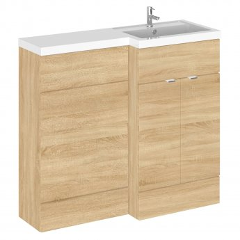 Hudson Reed Fusion RH Combination Unit with 500mm WC Unit - 1000mm Wide - Natural Oak