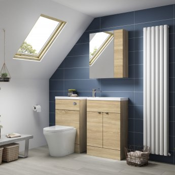 Hudson Reed Compact Fitted WC Unit with Worktop 500mm Wide - Natural Oak