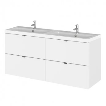 Hudson Reed Fusion Wall Hung 4-Drawer Vanity Unit with Double Basin 1200mm Wide - Gloss White