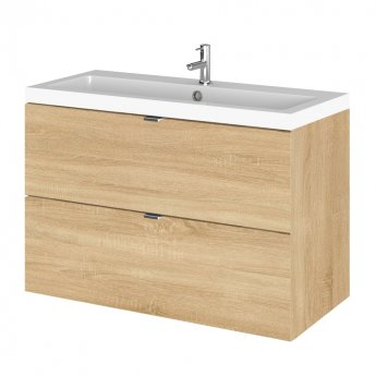 Hudson Reed Fusion Wall Hung 2-Drawer Vanity Unit with Basin 800mm Wide - Natural Oak