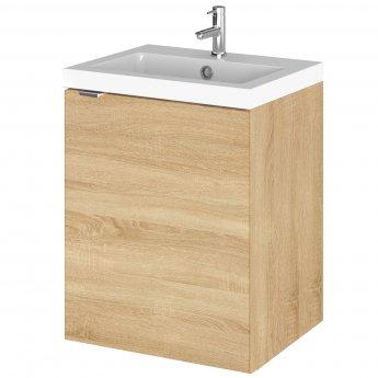 Hudson Reed Fusion Wall Hung 1-Door Vanity Unit with Basin 400mm Wide - Natural Oak
