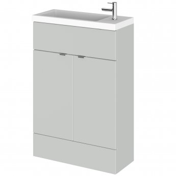 Hudson Reed Fusion Floor Standing 2-Door Vanity Unit with RH Basin 600mm Wide - Gloss Grey Mist