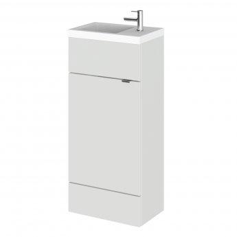 Hudson Reed Fusion Floor Standing 1-Door Vanity Unit with RH Basin 400mm Wide - Gloss Grey Mist