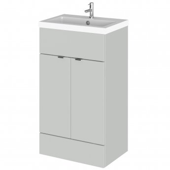 Hudson Reed Fusion Floor Standing 2-Door Vanity Unit with Basin 500mm Wide - Gloss Grey Mist